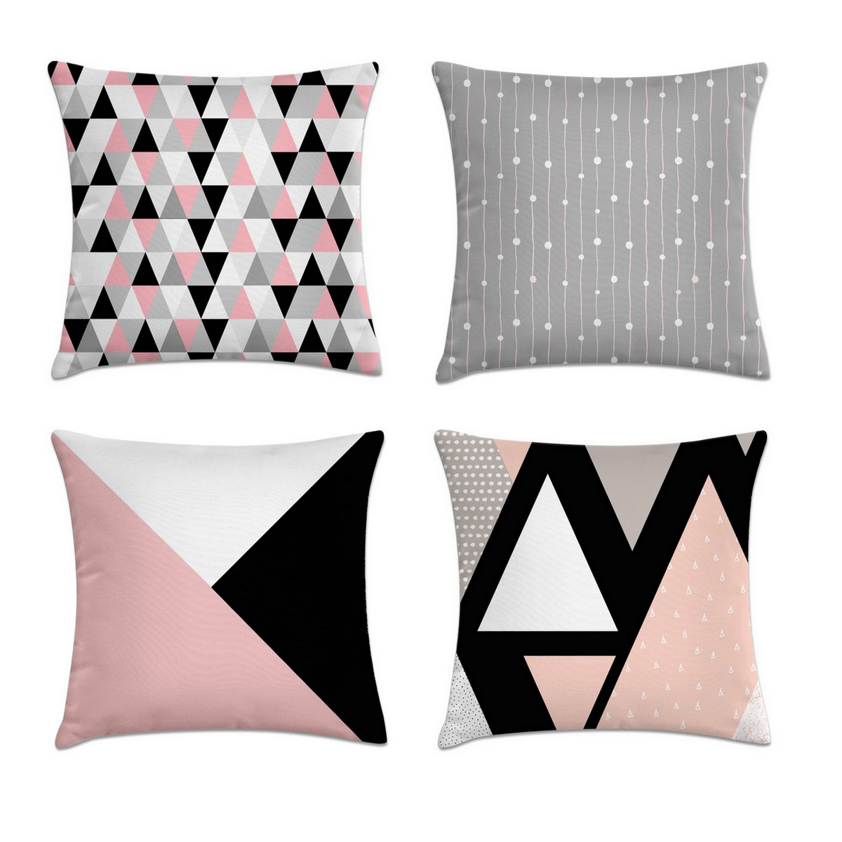 5c50c6af1 Kit 4 capas de almofada geométrica rosa preto e cinza – Kombigode Store