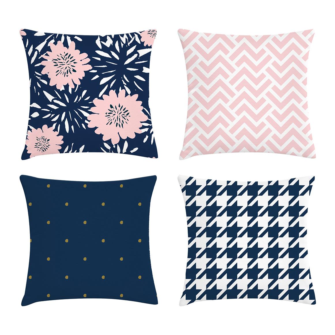 465e3eb6a kit 4 capas de almofadas Azul Marinho e Rosa – Kombigode Store