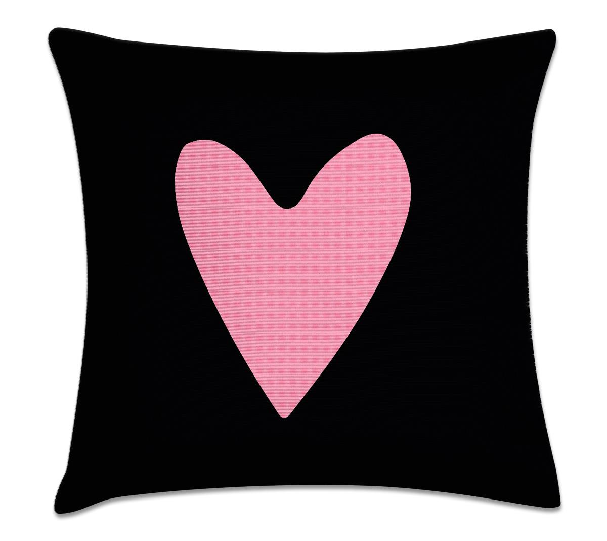 4a67270b060f13 Capa de almofada coração rosa e preto