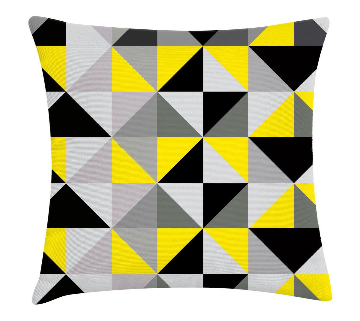 440047bbb7c6ea Capa de almofada quadriculada preto cinza e amarelo