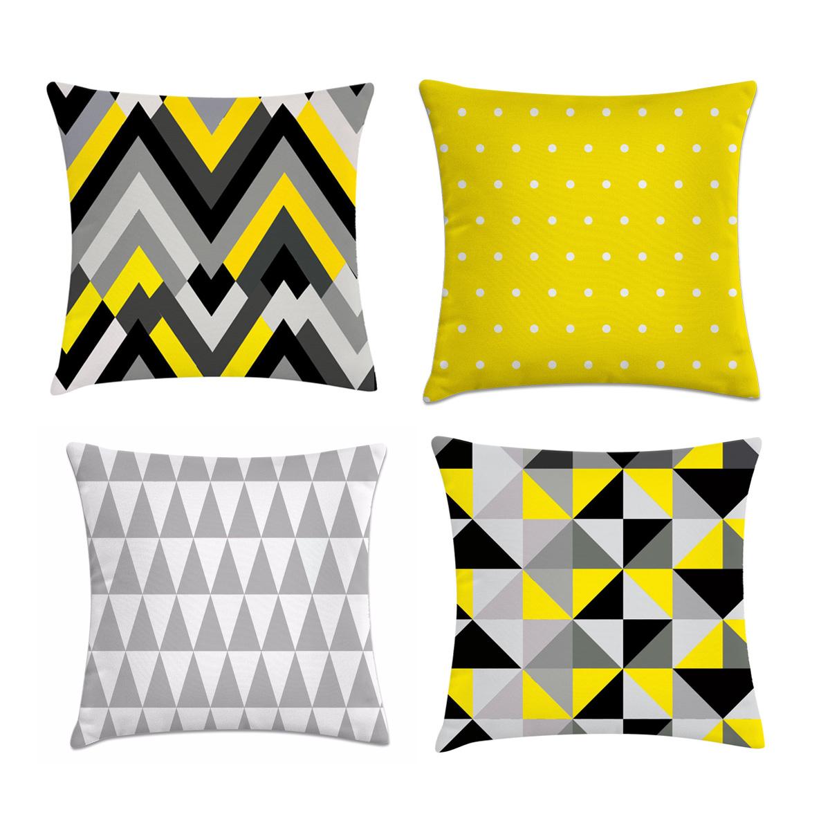 05b216f9fda5c8 kit 4 capas de almofadas geométrica preto e amarelo