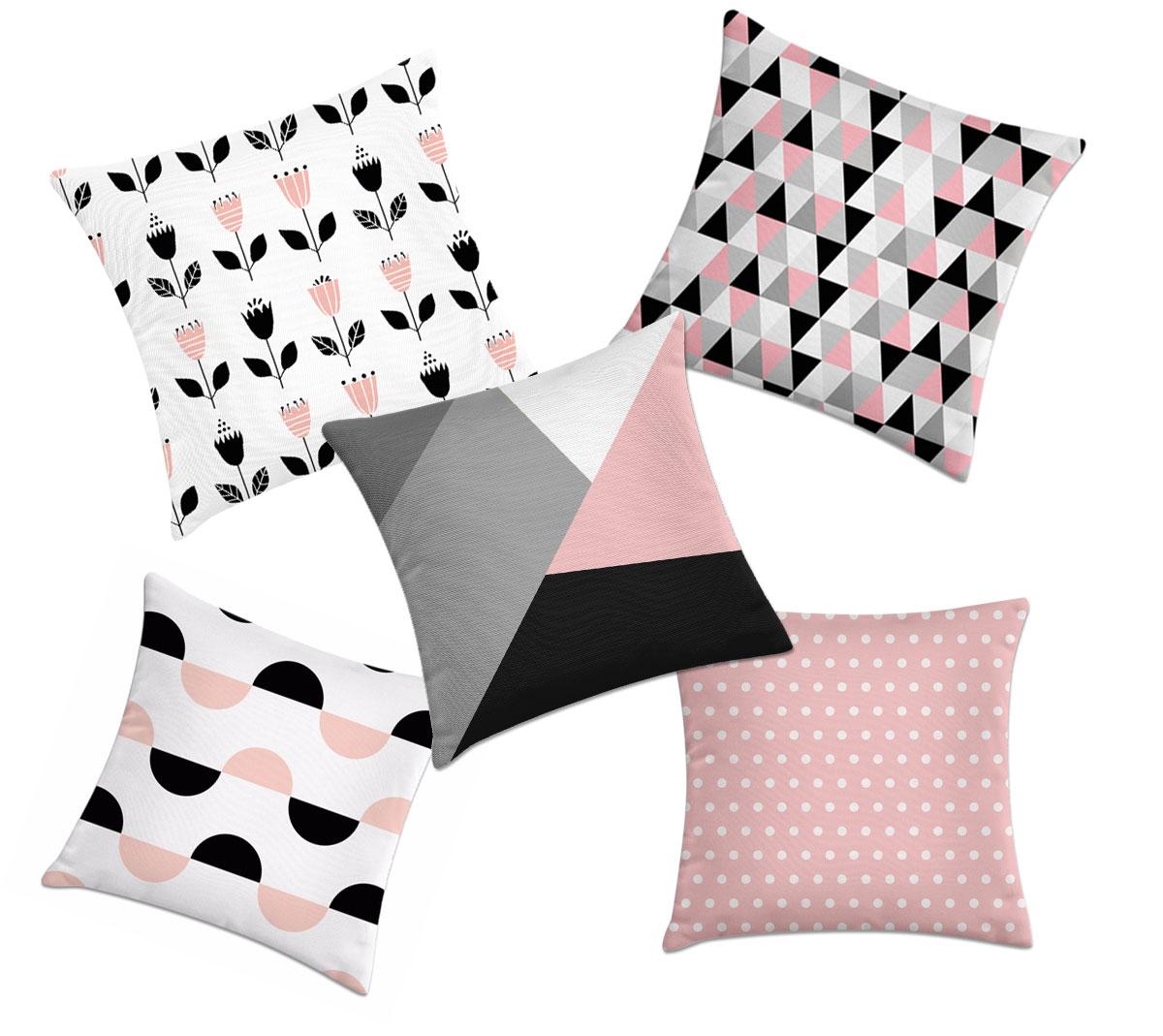e85401422 kit 5 capas de almofadas geométricas rosa e preto – Kombigode Store