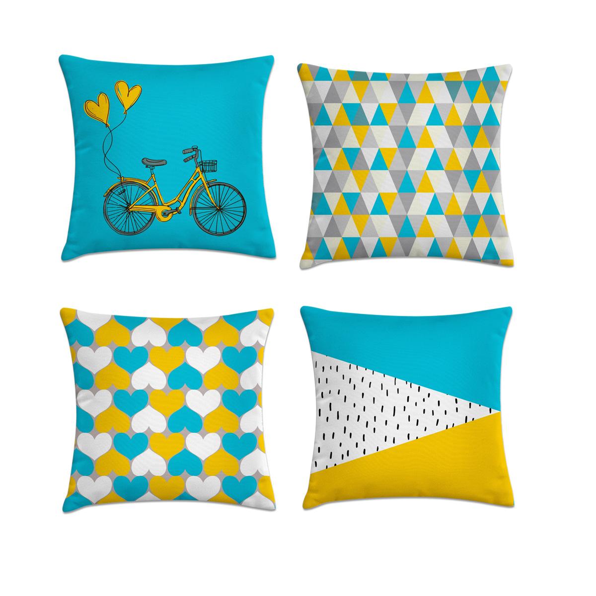 70efcd2d21e035 Kit 4 capas de almofadas azul amarelo e cinza