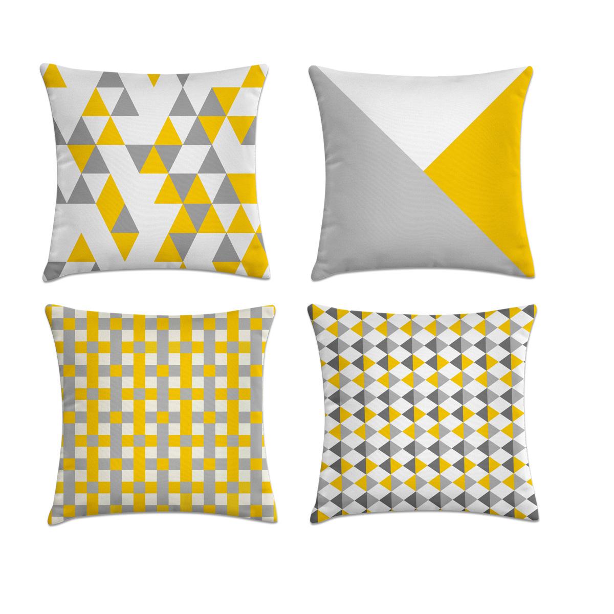 9213c1a2f9e4ee Kit 4 capas de almofadas cinza amarelo e branco