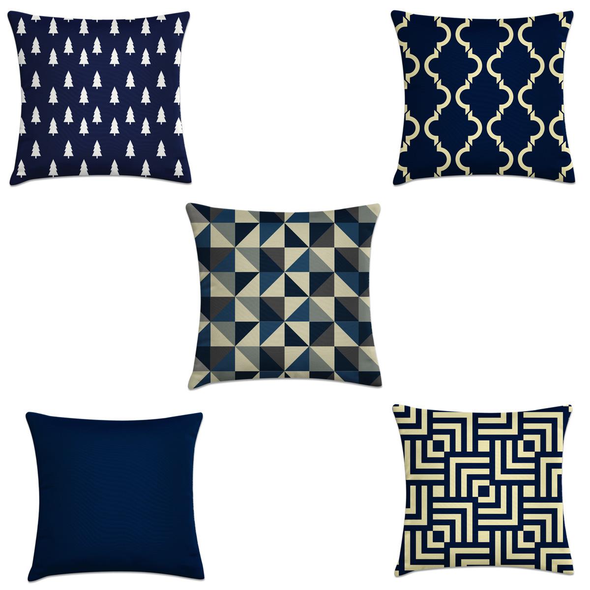 50c39a0c3 kit 5 capas almofadas geométrico bege e azul marinho – Kombigode Store